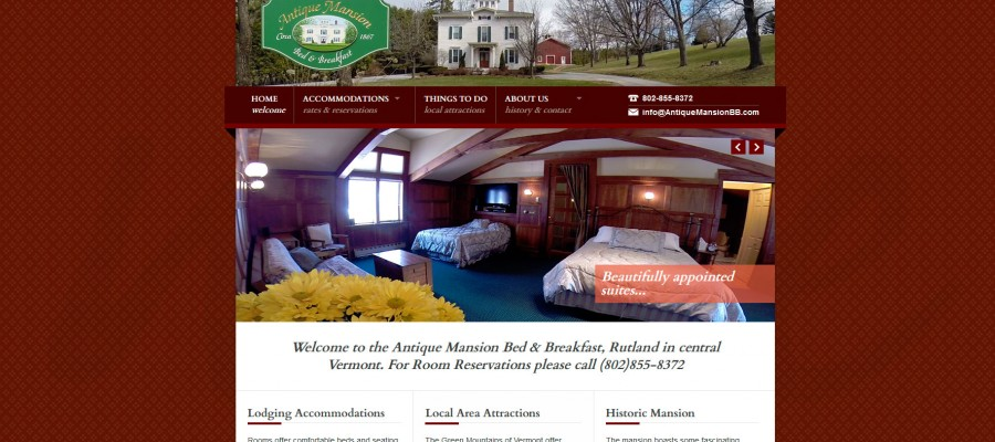 Website design for Antique Mansion Bed & Breakfast in Rutland, Vermont