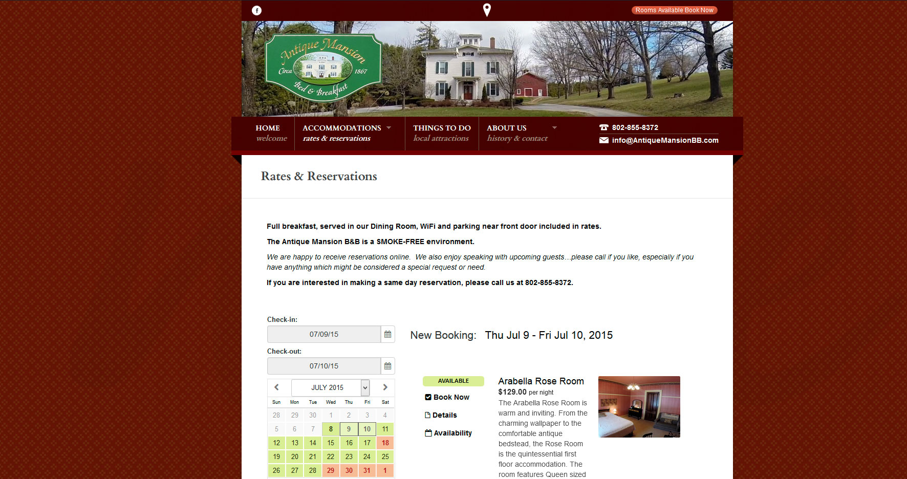 Antique-Mansion-Bed-and-Breakfast-website-design-reservation-system