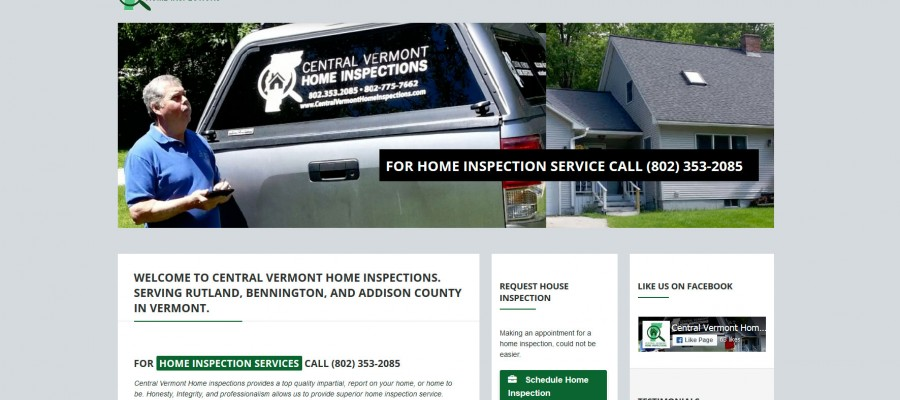 Website design for Central Vermont Home Inspections in Rutland, Vermont