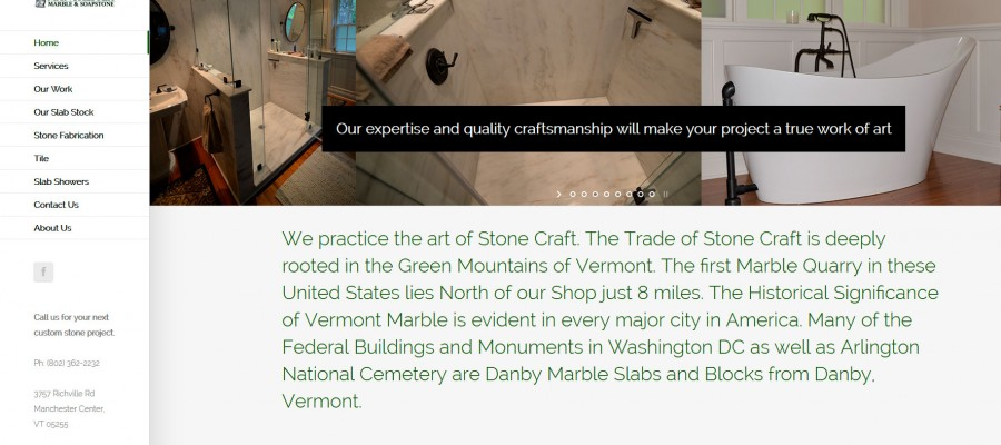 Website design for Manchester Marble and Soapstone in Manchester, Vermont