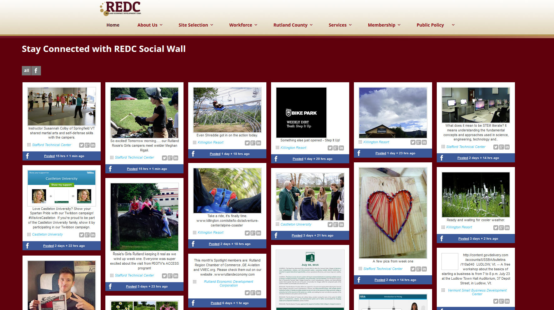 REDC-website-design-social-wall