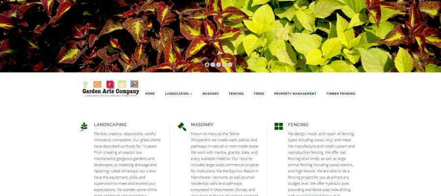 Website Design Vermont Garden Arts